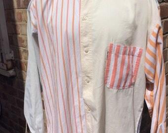 Authentic vintage men's Naf Naf striped coloured shirt