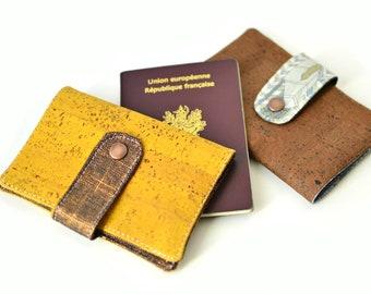 Etui passeport en cuir de liège jaune, protège passeport fait main & original, couverture en liège végétal, lin enduit cuivré, mixte