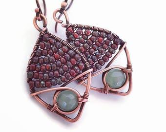 Wire wrap earrings aventurine earrings, green stone earrings wire wrapped jewelry copper wire earrings handmade boho earrings copper wire