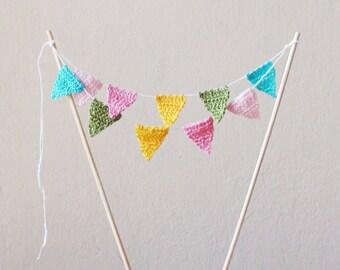 Peppa Pig cake topper , Crochet flags cake topper  Peppa Pig birthday decor, Easter cake topper , flag bunting cake topper, Peppa Pig party