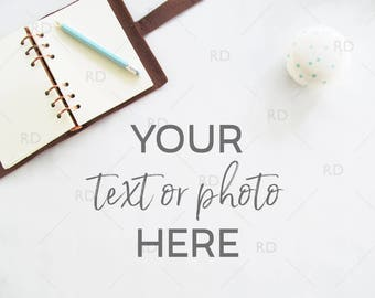 Notebook and Pen Styled Desk Mockup / Styled Stock Photography / Styled Photo for Blog Website / Business Desk Mockup / Business White Desk