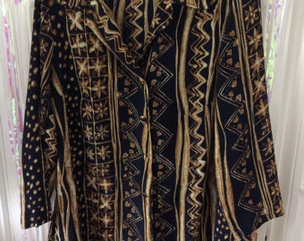 Navy and gold all over abstract sunflower print button up long sleeve shirt