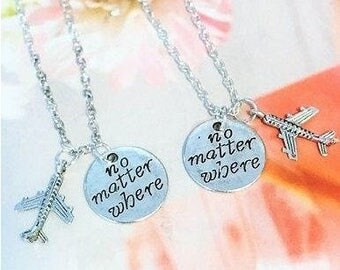 SALE - Set of 2 No Matter Where, Friendship Necklace, Bff Necklace, Couple Necklace, Graduation gift. Christmas.