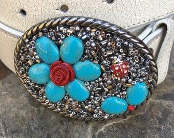 bohemian belt buckle hippie chic ladybug belt buckle silver gold copper beaded  embellished turquoise blue stone flower belt buckle women's