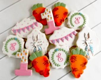 Peter Rabbit Cookies | Peter Rabbit Baby Shower | Peter Rabbit Birthday Party | First Birthday Party | One Dozen