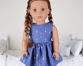 18 inch doll denim dress | gold metallic print dress | arrow print dress