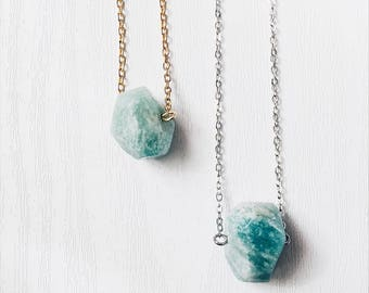 Faceted Amazonite Necklace   Luck, Hope, Dream, Calming Gemstone Necklace   Bohemian Stainless Steel Necklace