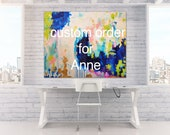 "Art Large Canvas Painting Blue, Peach, Gold, Pastel, Ombre Glitter with Glass and Resin Coat 30"" x 40"" real gold leaf"