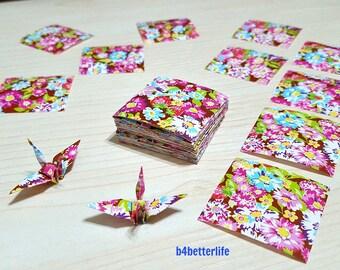 "200 Sheets 1.5""x1.5"" Floral Design Paper Folding Kit for Origami Cranes ""Tsuru"". (WR paper series). #FC15-56s."