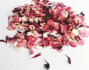 Natural wedding petal confetti for Autumn Wedding/ Delphinium confetti / Petal -Biodegradable / burgundy, pink and black