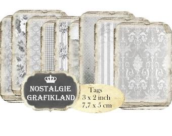 Tags Vintage Background Grunge printable Ephemera Damask Paper Instant Download digital collage sheet T152