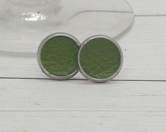 Leather earrings, stud earrings, avocado green leather stud earrings, green leather, Apple green