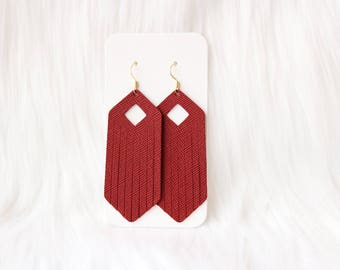 Red Fringe Leather Drop Earrings