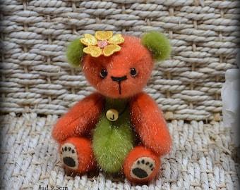 VENDU *** !! Jad ours d'artiste miniature 9.5cm collection 100% fait main pièce unique OOAK peluche