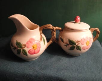 Vintage Franciscan Ware Desert Rose Creamer And Covered Sugar Bowl, Made In California