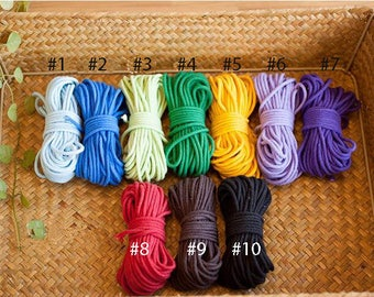 20 Yards, 2 mm Width, Solid Cotton Yarn for Decoration Sewing etc
