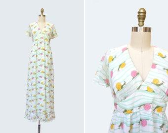 1970s L'Escargot Dress { S } Vintage 70s Snail Print Maxi