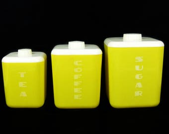 Vintage Yellow Lustro Ware Plastic Nesting Kitchen Canisters Set of 3 Lidded Containers: Tea,Coffee,Sugar,Yellow Kitchen Storage,Mid Century