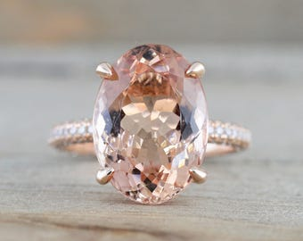 14k Rose Gold Oval Morganite Diamond Pave 3 Side Diamond Mounting Under Halo Engagement Ring 13x9mm