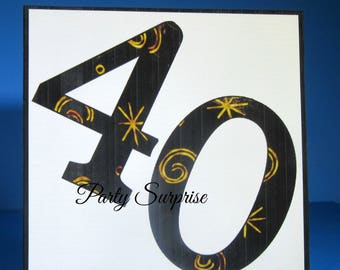 40th Cake Topper, 40th Birthday Party 40th Anniversary Decorations Photo Prop Party Decoration Custom Number Cards Invitations Photo Album