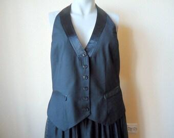 Women's Vest Black Vest Womens Steampunk Formal Waistcoat Edwardian Renaissance Baroque Victorian Open Back  Large Size