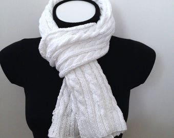Pure white Irish cable Egyptian cotton scarf