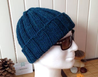 Hat mens hat for women, thick and warm wool and alpaca, color teal