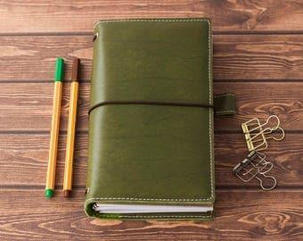 Moss green Fauxdori with pockets, Vegan Midori Travelers notebook, Fauxdori cover, Midori cover regular, Planner cover, Vegan planner