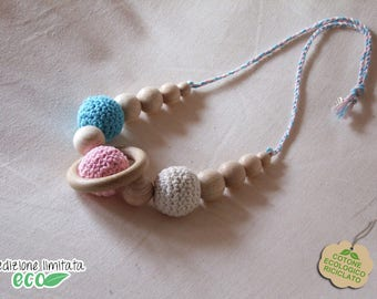 Recycled cotton nursing necklace turquoise Pink White