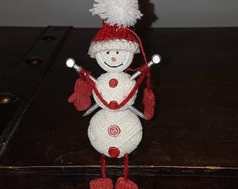 Vintage knitting snowman Christmas ornament, vintage Christmas, vintage ornaments, vintage decor