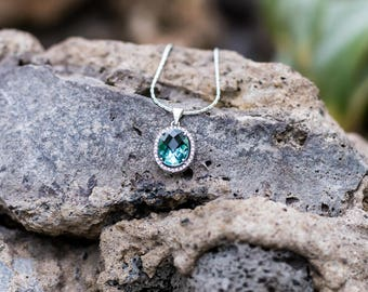 Sterling Silver Mint Green CZ Necklace