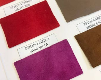 SUEDE leather swatches, genuine lambskin leather swatches, leather samples, sold per piece, leather fabric swatches, real leather pieces