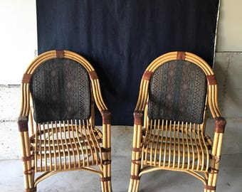 Set Of 2 Vintage Mid Century Bamboo Rattan Arm Chairs