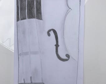 Violin hand drawn sketch art