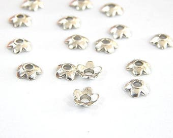 Caps cups smooth silver 6.5 mm 5-petal flowers