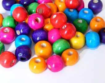 20 wooden round, mixed 10 mm beads