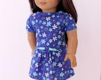 18 inch girl doll clothes - Blue drop waist pocket dress