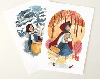 FINE ART Print DIN A5 cm from my original watercolor Fairytales