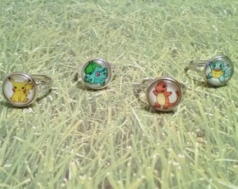 Starter pokemon adjustable ring, pokemon ring, pokemon jewelry, pokemon gift, piķachu ring, squirtle ring, charmander ring, bulbasaur ring