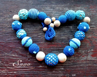 Summer Turquoise Blue Nursing Necklace, Handmade for mom&baby, Teething Necklace Wooden and crochet Necklace, Crochet Breastfeeding Necklace