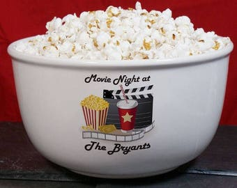 Personalized Bowl, Popcorn Bowl, Snack Bowl, Movie Night Bowl