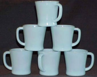 SIX (6) Fire King Turquoise Blue B1212 D-Handle Mugs - Cup FireKing by Anchor Hocking