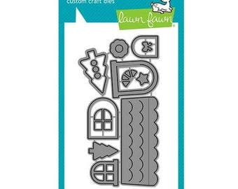 Lawn Fawn - Christmas - Lawn Cuts - Dies - Scalloped Treat Box Winter House Add-On