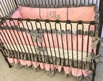 Faux Silk Pink & Platinum Baby Bedding :Ella