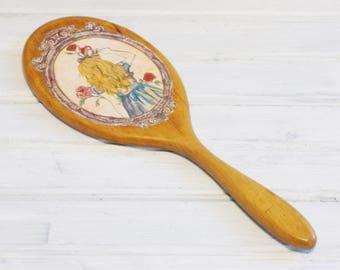 MBS Alice In Wonderland Hand Held Mirror, Vintage Mirror, Vanity Mirror