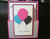 Happy Birthday Card with Balloons/Glitter/Gift Card Holder