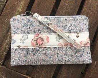 Floral Gathered Clutch Pouch Minimalist Slim Wallet
