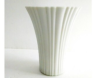 Vintage White Ribbed Vase with Flared Fluted Top Mid Century Modern Ribbed White 7 Inch Vase