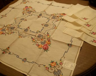 Vintage NEW Hand Embroidered Cross Stitched Linen Beige Tablecloth and Napkin Set
