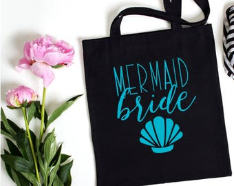 Mermaid Bride Canvas Tote, Shopping Tote, Custom Canvas Tote, Grocery Tote, Canvas Tote, Bachelorette Party Tote, Wedding Day Tote Bag